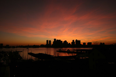 Boston skyline, dusk - November