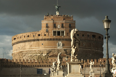 Castel Sant'Angelo, with Archangel Michael on top - as seen from Sant'Angelo Bridge. Rome.